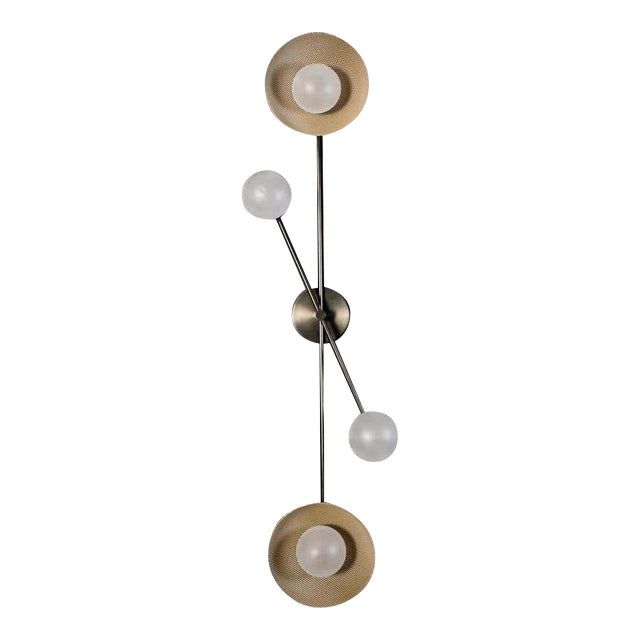 Division Wall Sconce or Flushmount in Oil-Rubbed Bronze, Mesh & Blown Glass For Sale