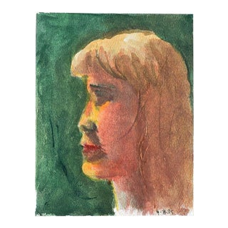"Small Profile Portrait Painting of a Blonde Girl on Green - 7"" X 9"" For Sale"