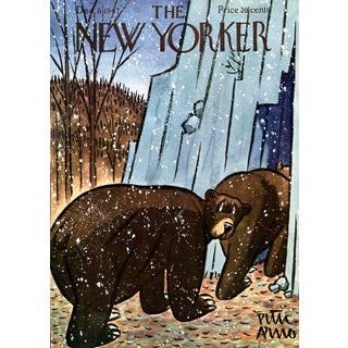 Vintage 1947 New Yorker Cover, December 6 (Peter Arno), Winter, Zoo, Bears For Sale