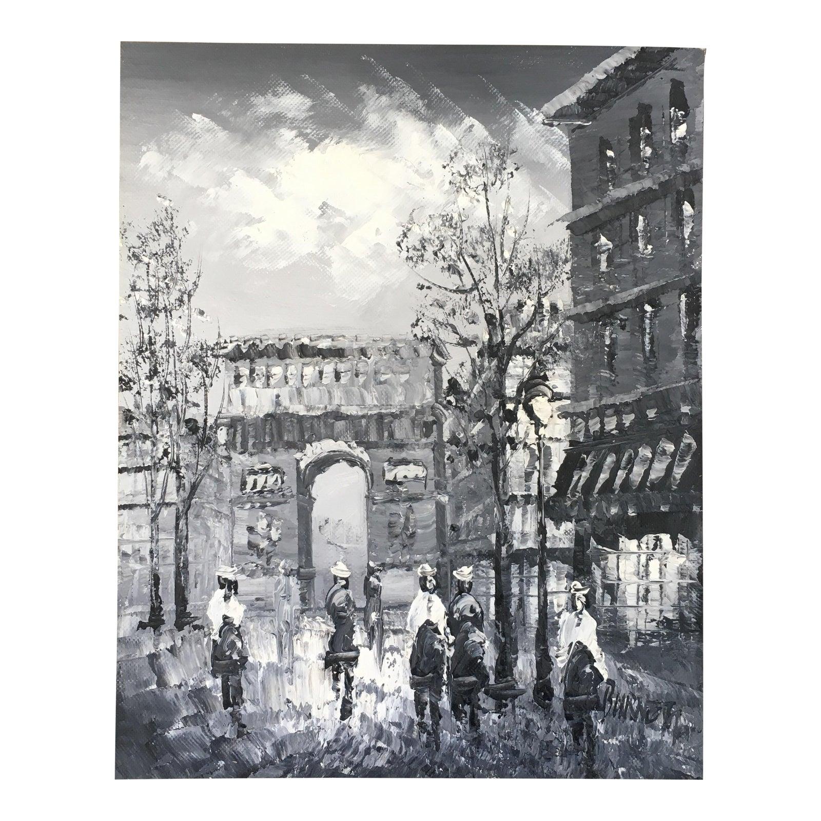 Arc De Triomphe In Paris Street Scene Black And White