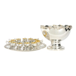 English Georgian Style Silver Plated Copper Punch Bowl Service - Set of 15 For Sale