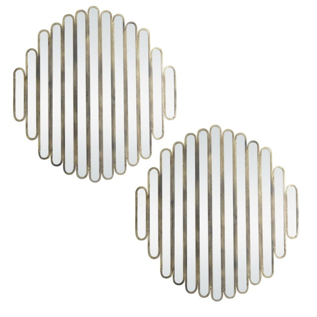 Modern Unusual Unique Metal Mirrors, A-Pair For Sale - Image 9 of 9