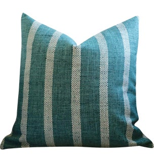Teal Striped Woven Pillow Cover 22x22 For Sale