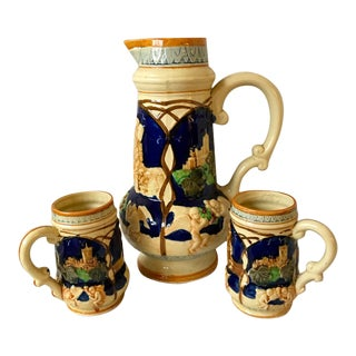 1920s Antique Japanese Majolica Decanter Pitcher & Tankards - Set of 3 For Sale