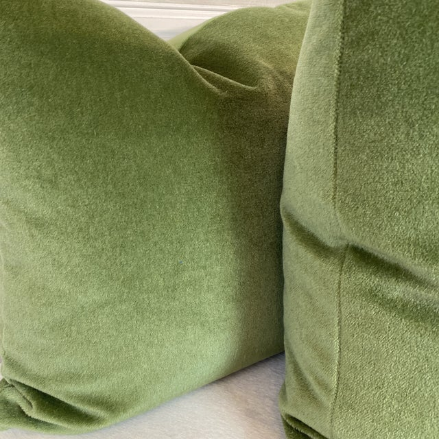 """Traditional Brunschwig & Fils """"Autun Mohair Velvet"""" in Leaf 22"""" Pillows- a Pair For Sale - Image 3 of 5"""