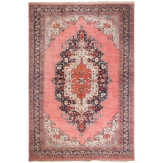 Large Vintage Persian Silk Heriz Rug - 13′1″ × 19′ For Sale