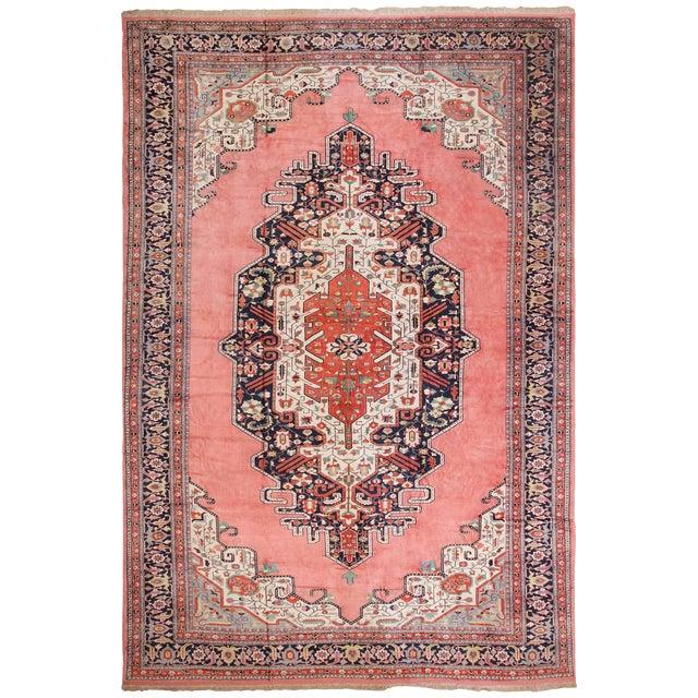 Large Vintage Persian Silk Heriz Rug - 13′1″ × 19′ For Sale
