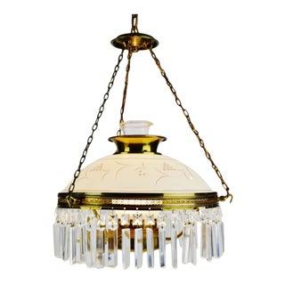 Vintage Victorian Style Electrified Parlor Oil Lamp Prism Chandelier For Sale