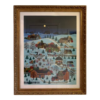 1940s Vintage Wooster Scott Skater's Moon at Soda Spring Painting For Sale