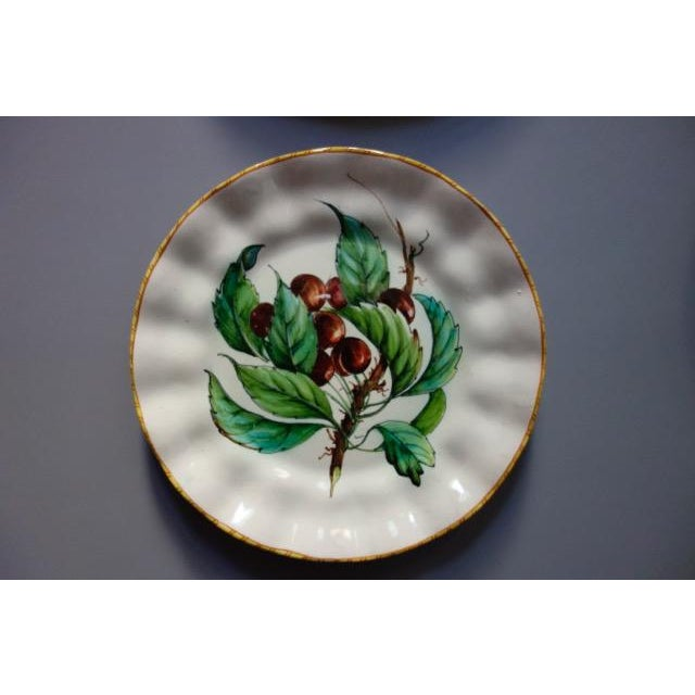 Metal Vintage Italian Hand Painted Signed Fruit Plates - Set of 4 For Sale - Image 7 of 9