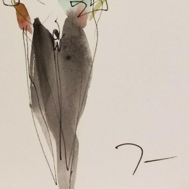 Jose Trujillo Original Abstract Watercolor Painting of Figure Walking For Sale - Image 4 of 4