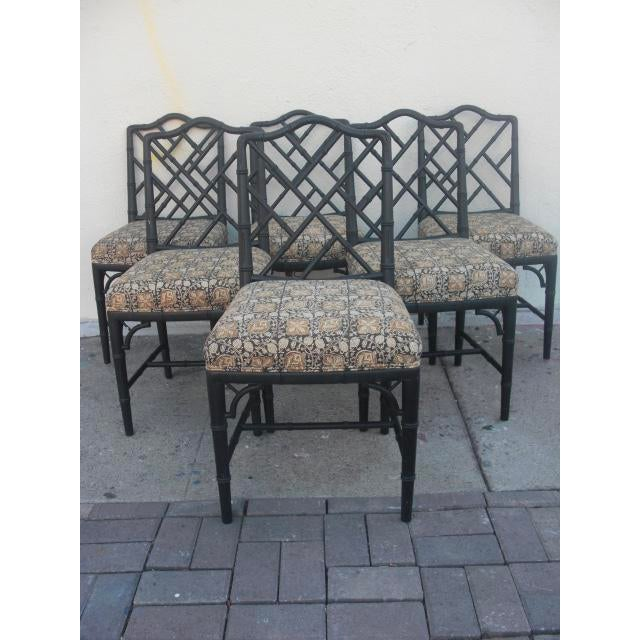 Set of 6 vintage Faux Bamboo carved wood Chippendale dining chairs with dark brown painted framed and upholstered cushion...