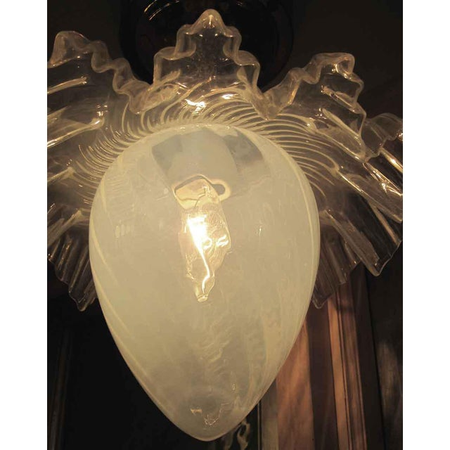 Art Deco Opalescent Glass Ruffled Shade Semi-Flush Mount Light For Sale - Image 3 of 4