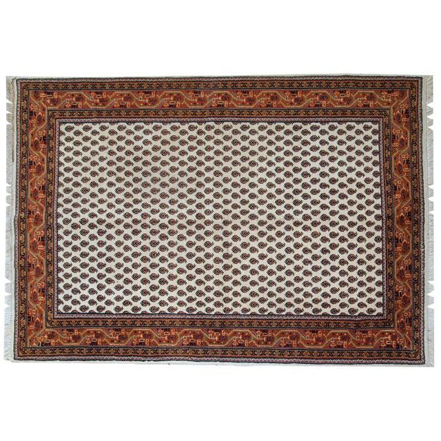 Vintage Handmade Indian Seraband Style Rug - 4′ × 5′8″ - Image 8 of 10