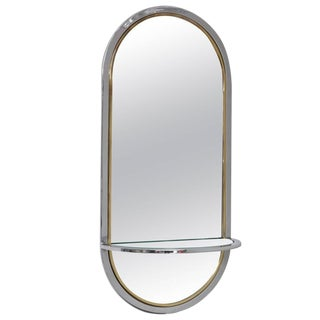Mid Century Milo Baughman for DIA Chrome Wall Hung Mirror with Shelf For Sale