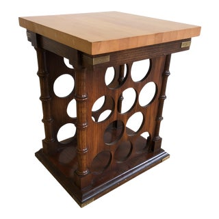 Vintage Faux Bamboo Wine Rack Table For Sale
