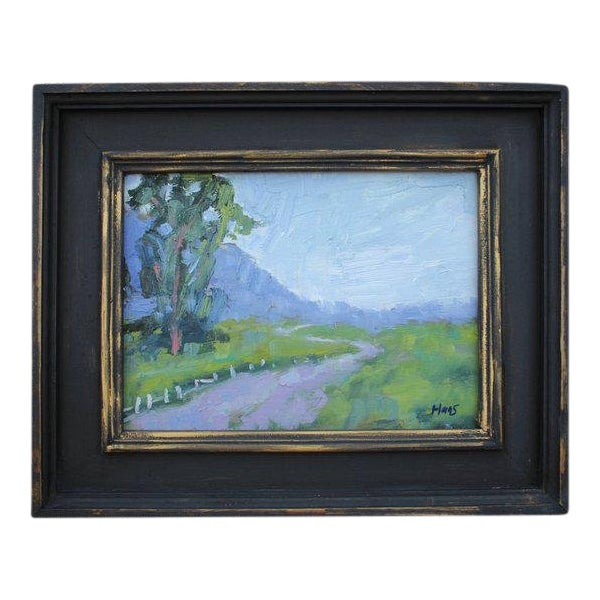 """""""Fence in the Road"""" Oil Landscape Painting For Sale"""