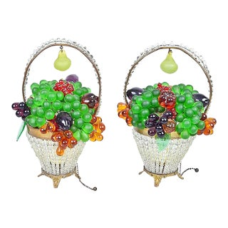 1920s Vintage Czech Grape Fruit Basket Lamps, a Pair For Sale