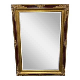 Gold + Burgundy Rococo Style Mirror For Sale