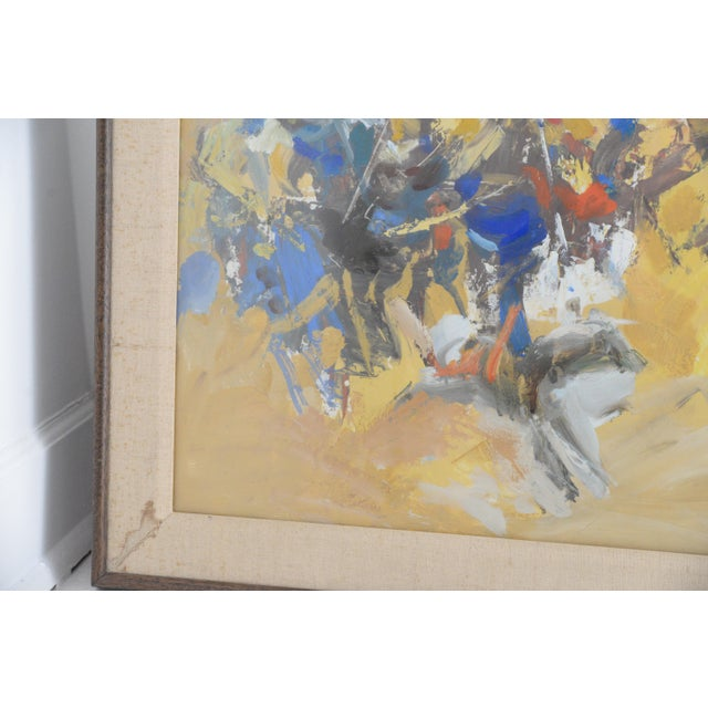 Very colorful and dynamic oil painting on board framed behind glass by listed New York Artist Jerry Krellenstein born in...