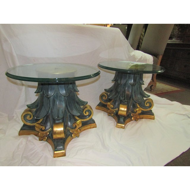 Green & Gold Wood Columns Accent Tables - A Pair - Image 3 of 4