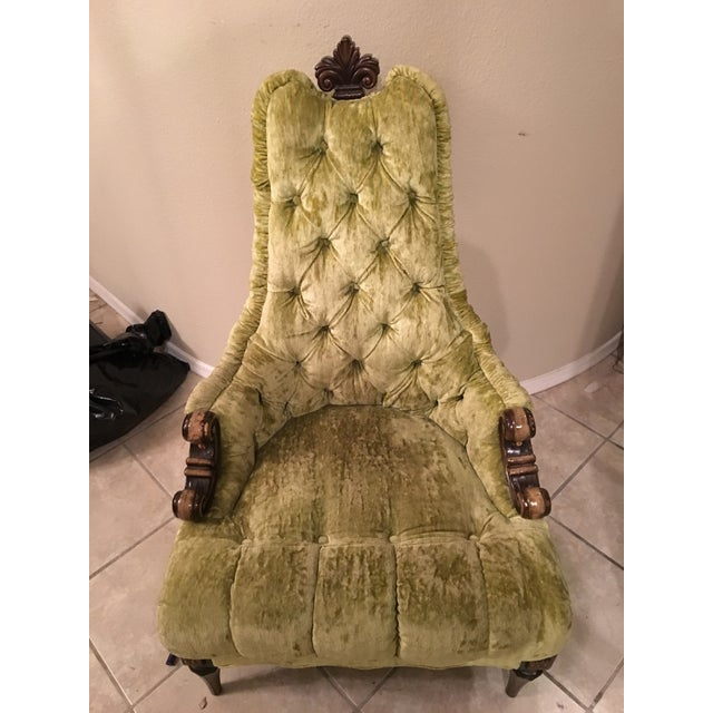 Vintage Green Velvet Upholstered Fleur De Lis Chair - Image 2 of 3