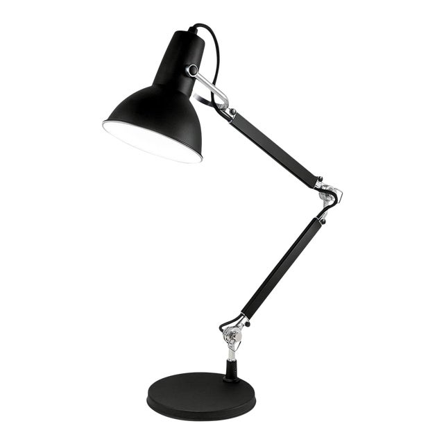 Satin Black With Aluminium Accents Adjustable Desk Lamp For Sale