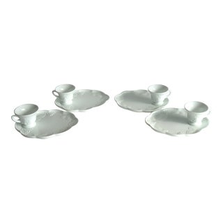 White Milk Glass Snack Sets With Grape Motif - Set of 4