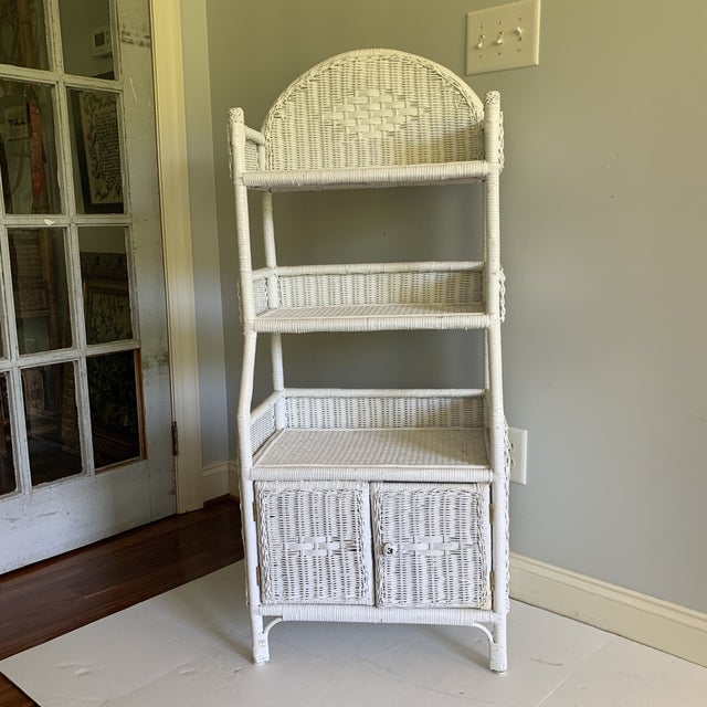 1970s Shabby Chic White Woven Wicker Etageres Bookcase For Sale - Image 9 of 9