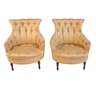 19th Century Napoleon III Light Yellow Armchairs - a Pair For Sale