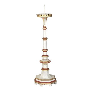 19th Century White & Red Gilded Pricket Stick with Pedestal Base
