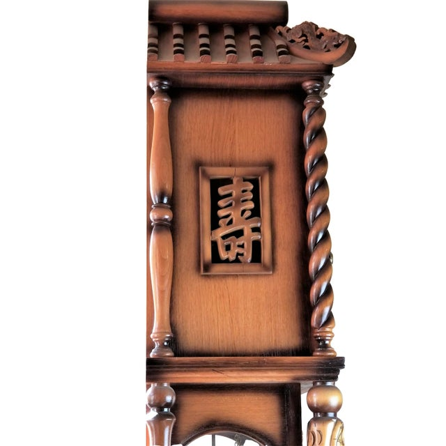 1970s Vintage Chinese Highly Carved Tempus Fugit Grandfather Clock For Sale - Image 4 of 12