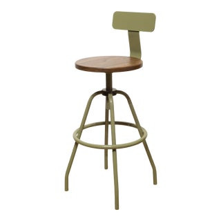 """""""Swivel Studio Work Stool"""" in Reed Green With Back Rest by Makr For Sale"""