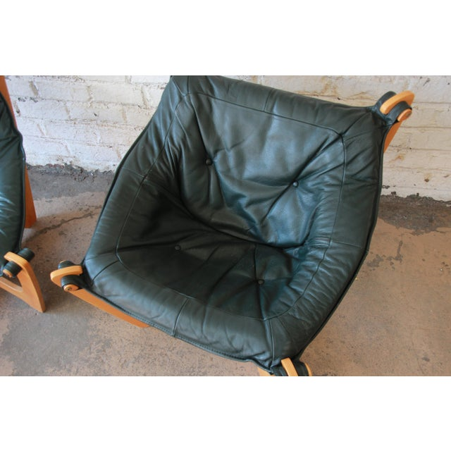 Animal Skin Odd Knutsen Teak Luna Chairs in Green Aniline Leather - a Pair For Sale - Image 7 of 12
