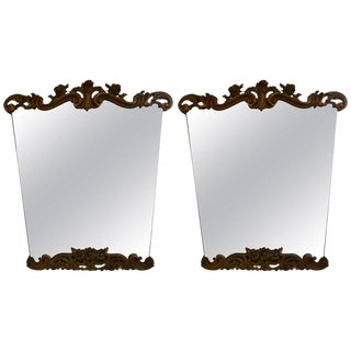 Italian Serge Roche Inspired Painted and Gilt Wood Mirrors - a Pair