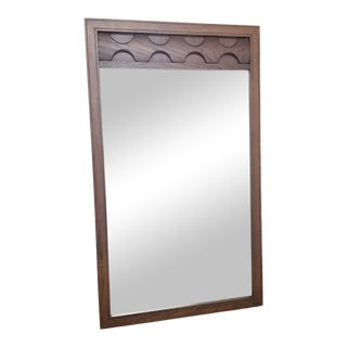 Mid-Century Sculptural Walnut Wall Mirror For Sale