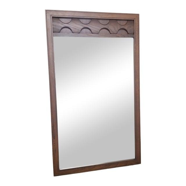 Mid-Century Sculptural Walnut Wall Mirror For Sale