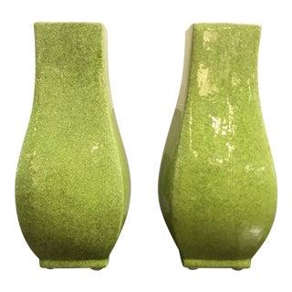 Modern Chartreuse Crackle Glaze Square Vases Pair For Sale