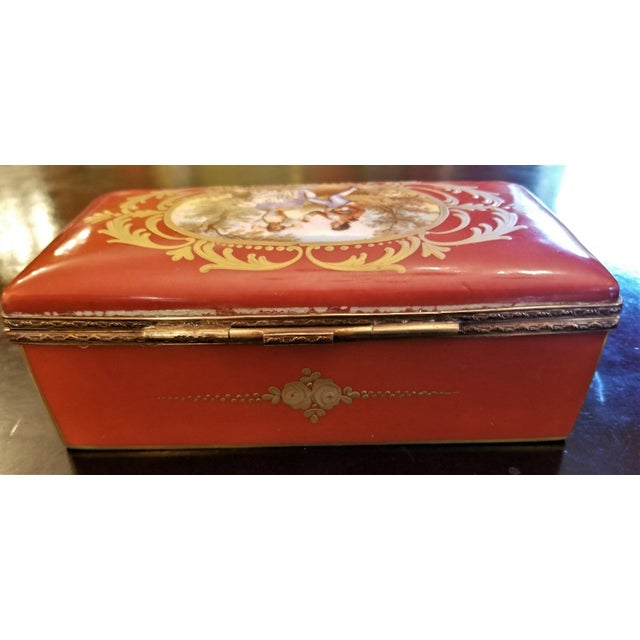 Mid 19th Century 19th C. Sevres Porcelain Trinket Box With Ring Tray - Set of 2 For Sale - Image 5 of 13