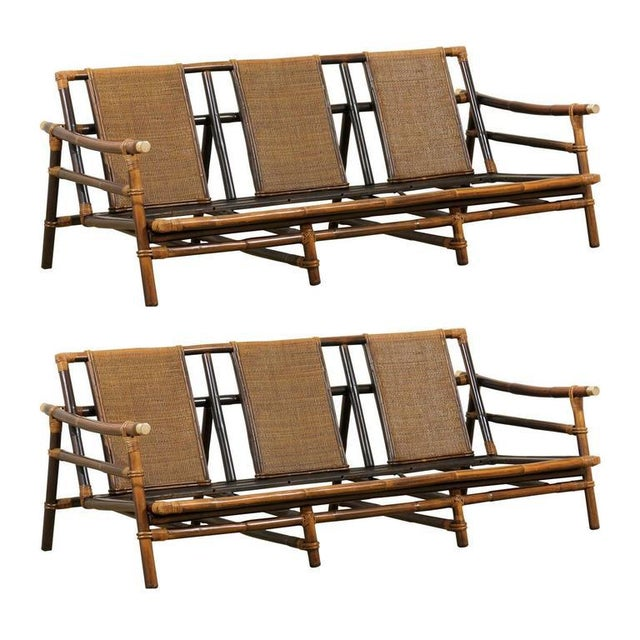 Rare Restored Sofa by John Wisner for Ficks Reed- Four Available For Sale - Image 11 of 11