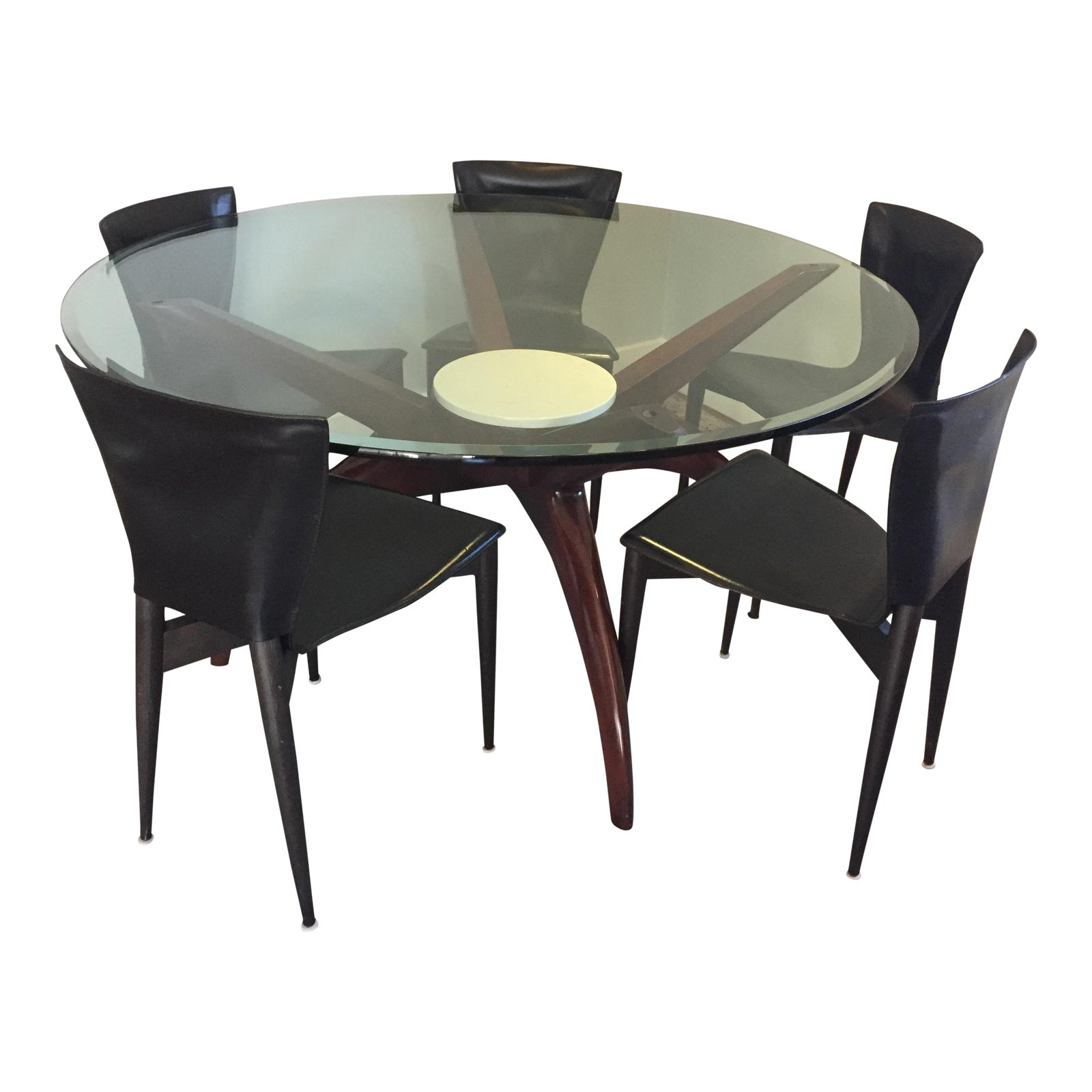 Wood & Glass Round Dining Table & Leather Chairs - S/6 Mid ...
