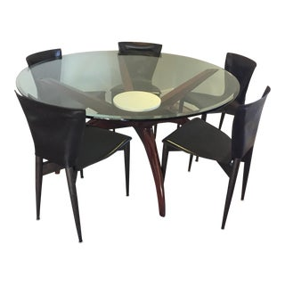 Wood & Glass Round Dining Table & Leather Chairs - S/6 Mid Century