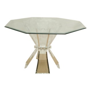 Beautiful Octagonal Dining Table with Lucite Base and Beveled Glass Top For Sale