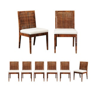 Exceptional Set of Eight Vintage Caramel Cane Dining Chairs by Bielecky Brothers For Sale