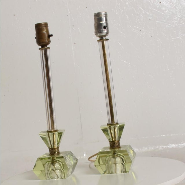Hollywood Regency Hollywood Regency Era Crystal Table Lamps With Light Green Color Set of 2 For Sale - Image 3 of 11
