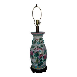 Antique Chinese Pink Family Vase Table Lamp For Sale