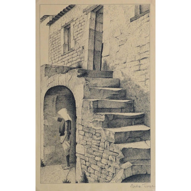 Andre Trost, Vintage French Lithograph - Village Scene For Sale