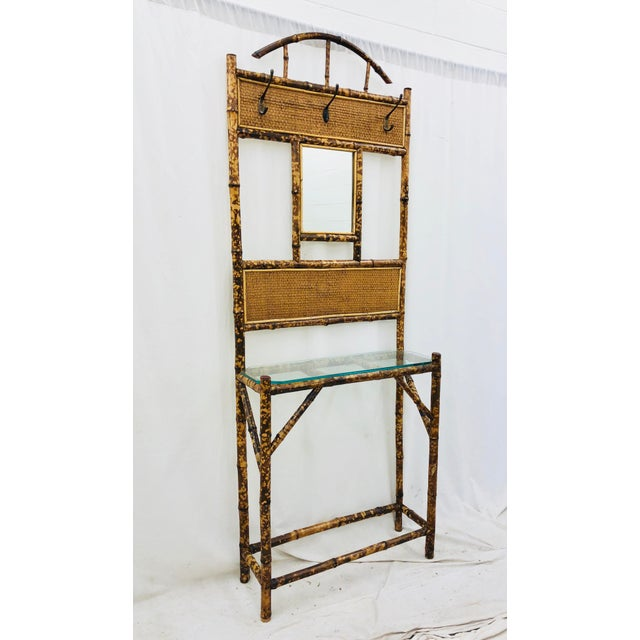 Stunning Vintage Scorched / Burnt Bamboo & Thatched Grass Cloth Hall Tree Table & Hanging Rack. Complete with original...
