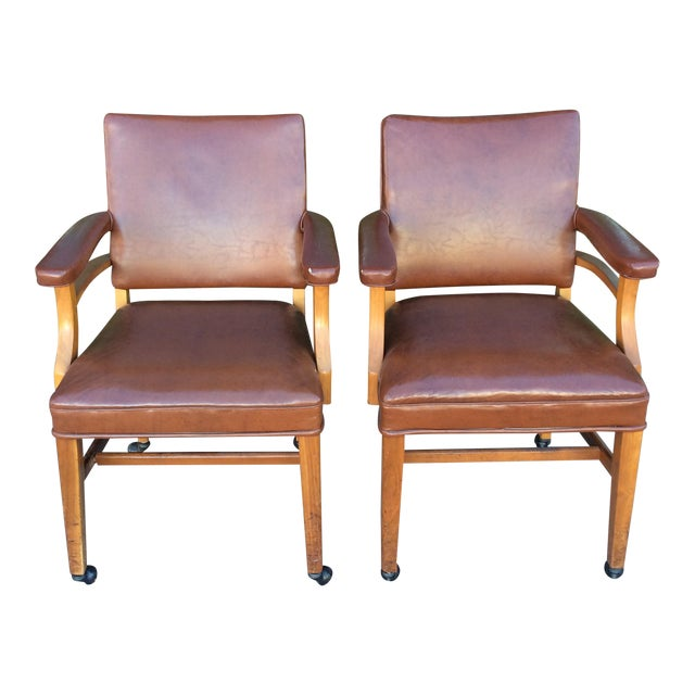 Vintage Faux Leather Side Chairs - a Pair For Sale
