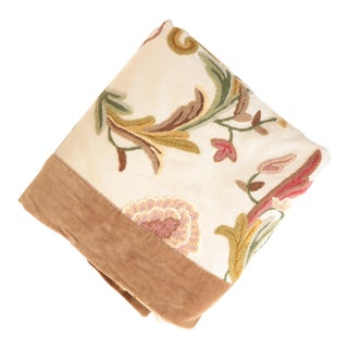 Velvet Lined Floral Crewel Throw For Sale